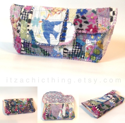 Artsy upcycled clutch bag