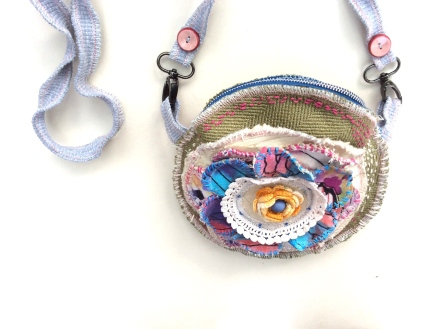 upcycled crossbody flowerpower pouch